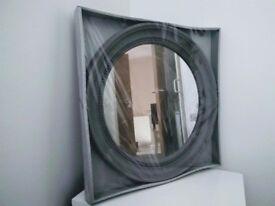 47cm Grey Decorative Antique French Style Porthole Mirror Shabby Chic Style Acrylic Home Decor