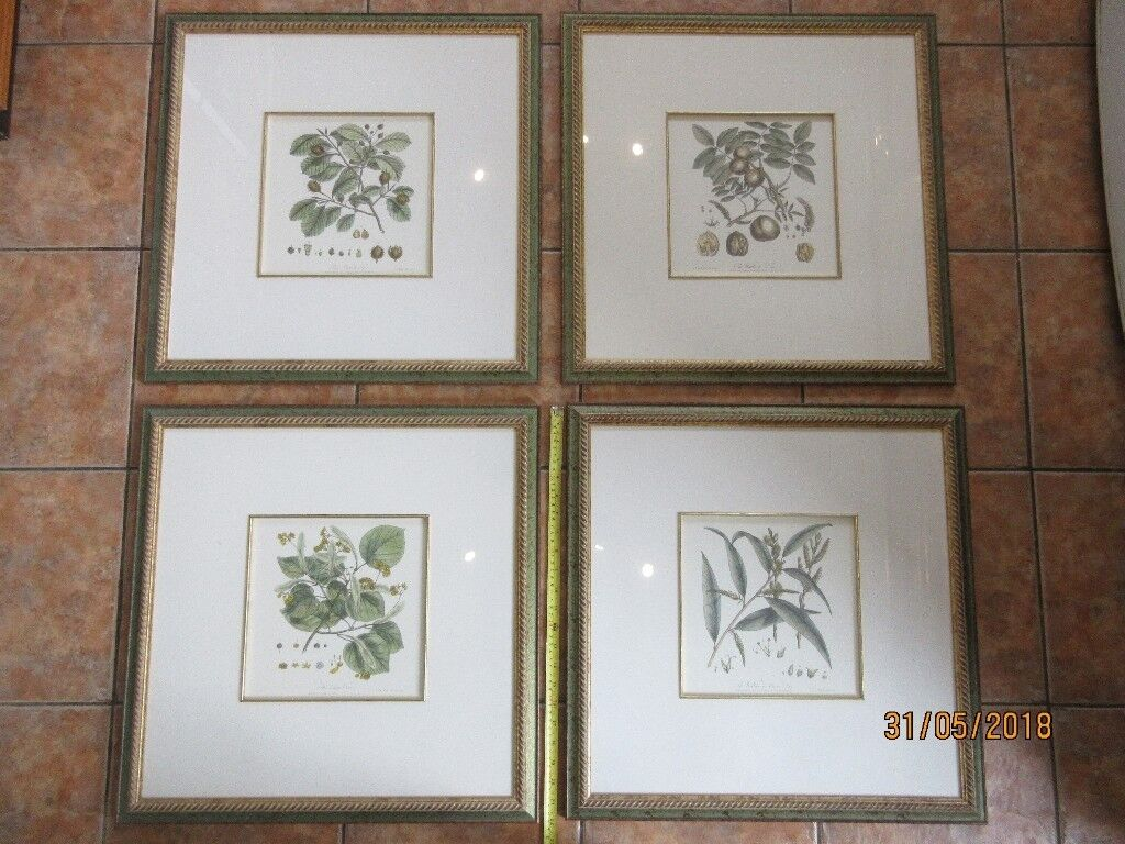 4 x large framed and mounted prints with good quality gilt and green ...