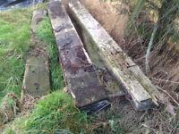5 x genuine railway sleepers, assorted lengths