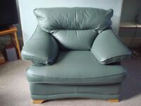 Green Leather Armchair * Hardly Used*
