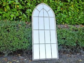 Vintage Church Style Metal Arch Mirror