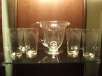 1920s Water Jug and 6 Glasses