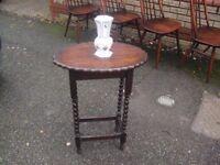 Solid Oak 1920's Era Barley Twist Leg Jacobean Style Side Table