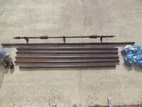 7 Regency Wooden Curtain Poles, Mahogany Coloured, With Finials, Rings and Cup Brackets