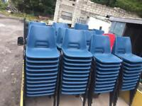120 available plastic stacking chairs