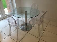 Round glass table & 4 ghost chairs