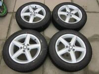 """VW POLO 15"""" ALLOY WHEELS WITH 185/60/15 MICHELIN ALPIN WINTER TYRES."""