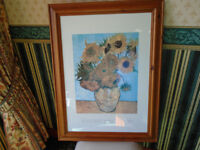 VINCENT van GOGH FLOWERS in VASE FRAMED PICTURE, SIZE 25 x 32, in EXCELLENT CONDITION, LIKE NEW