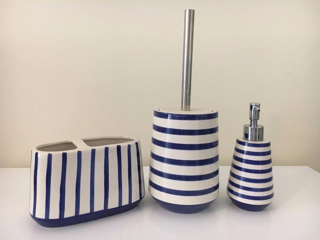 NEXT Nautical Stripe Ceramic Bathroom Accessories Set | in Southam ...