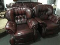 As new Chesterfield 3 1 1 leather sofa set