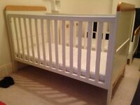 FANTASTIC CONDITION white + wood trim, Cotbed cot toddler bed (ADJUSTS to 4 heights). Mamas & Papas