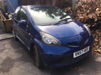 57 plate toyota aygo 998cc spares or repairs.