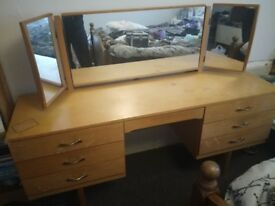 Large retro dressing table with mirror