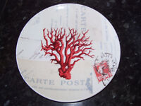 Rare set of SIX Paula Scaletta coral design side plates SBCD Studios.