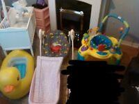 baby crib, jumperoo, bath, swing all from smoke free home