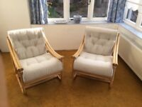 2 upholstered comfortable conservatory armchairs