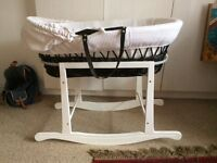 Claire du lune Wicker Moses Basket and Rocking Stand