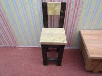 "BESPOKE HAND MADE CHUNKY CHILDS TALL STOOL 12"" X 13"" X 35"" TALL"