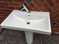 Bathroom sink with pedestal & tap