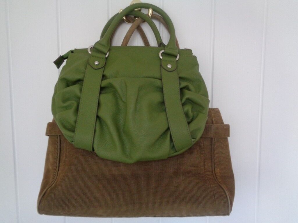 Two M S Per Una Handbags One Green With Ruched Detailing Khaki Cord