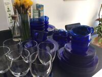 Blue French Glass Crockery