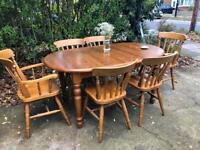 PINE TABLE AND 6 CHAIRS FREE DELIVERY LDN 🇬🇧