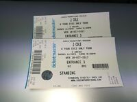 2 Standing J Cole Dublin 3 Arena Wed 18th Oct 2017 for sale £130 each ovno