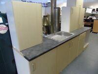 Kitchen units, worktop & sink