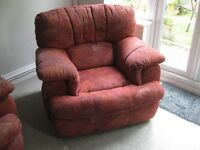 3 - Piece Lounge Suite Red/Terracotta Patterned Fabric, Good Condition