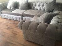 Crushed velvet chesterfield sofa