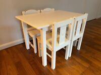 IKEA Children's white SUNDVIK table + 4 chairs (used)