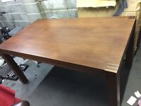 Walnut effect dining table and 4 leather look chairs Good condition