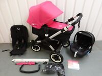 HOT PINK/BLACK Bugaboo Buffalo!TRAVEL SYSTEM!
