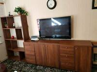 3D wood bookcase,large and small sideboard, one coffee and one side table