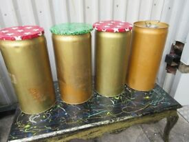 4 x RETRO OIL DRUM STOOLS.... FUNKY ONE OFFS...HAND MADE LIDS!!!...ONLY £40