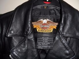 womans harley leather jacket (small)