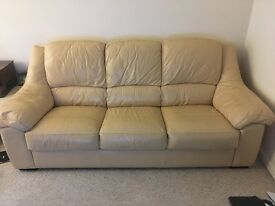 Cream leather 3-seater sofa and armchair sofa for sale