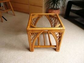 Small glass topped occasional table / coffee table with sturdy bamboo frame