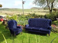 Wingback 3 seater with matching armchair
