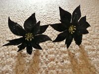 2 Black and Silver Glitter Artificial Poinsettias / Flowers for Flower Arrangement or Crafts