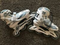 Ladies Size UK 5 Roces Yris Inline Roller Blades White And Blue