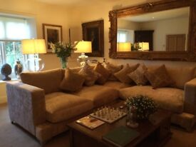 Brushed velvet sand colour sofa for sale. Bought for a show home retail price £2,300