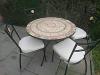 Mosiac garden table with 5 chairs