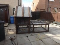 large rabbit hutch/cat house with run