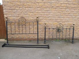 Kingsize black metal bed frame with brass detailing, antique style, heavy