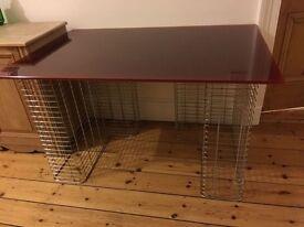 retro Habitat glass desk on chrome legs