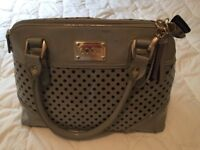 Fllozie Hand bag Pale Grey and grey with black spots