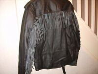 new leather motorbike jacket with tassels