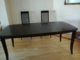 Black ash table and 6chairs