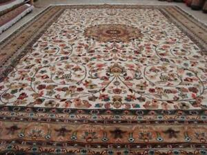 Ivory Medallion Floral Oriental Hand Knotted Rectangle Area Rug Wool Silk Carpet (11 x 8)'